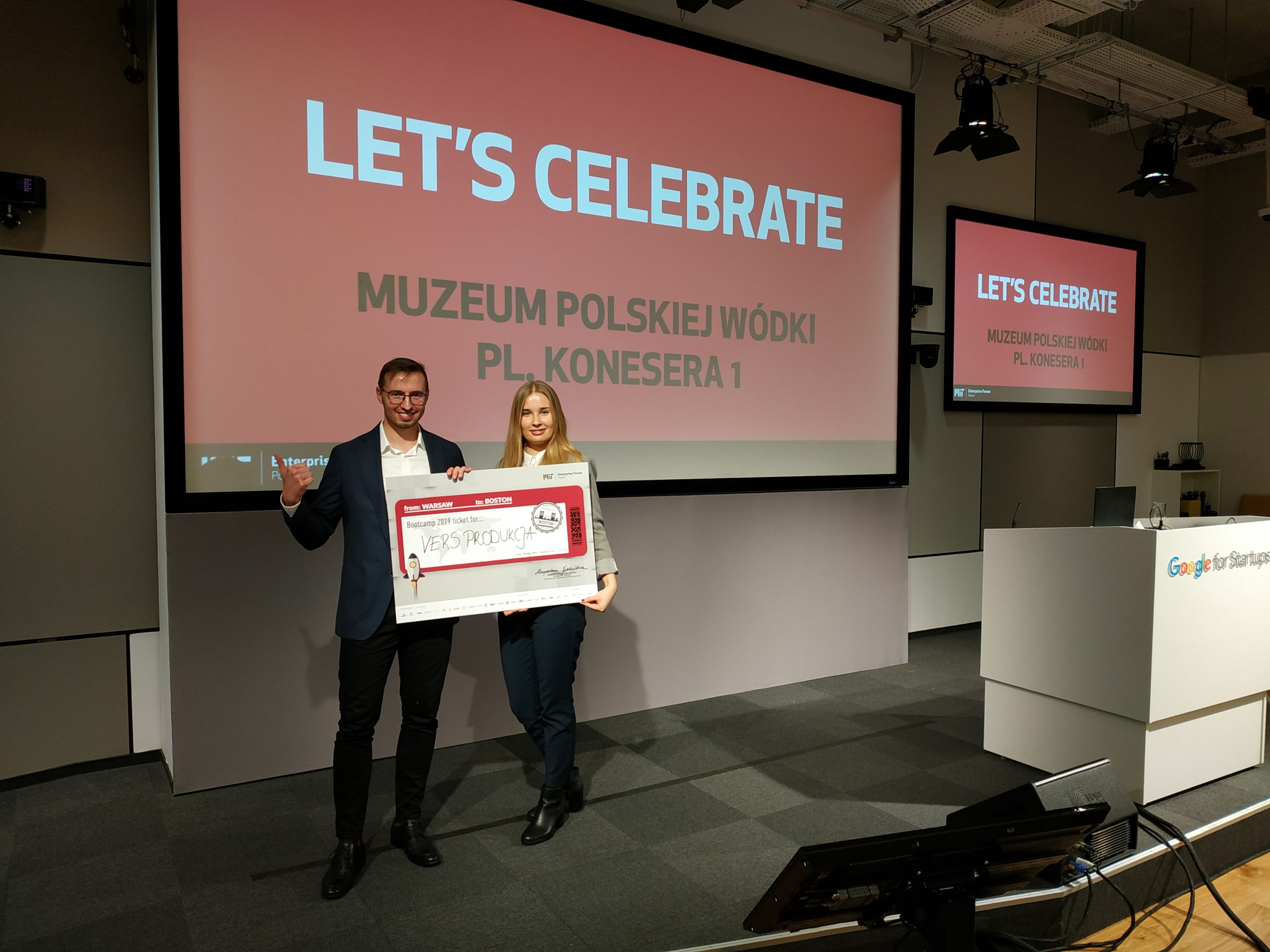 Celebration time - Michał Wendeker, our CEO and Aleksandra Gomułka, Project Manager after winning the MIT Enterprise Forum CEE Pitching Competition